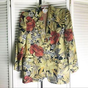 Rafaela Vintage Linen Blend Floral Blazer 12